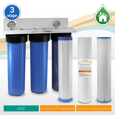 "3-stage 20""x 4.5"" Whole House Big Blue Water Filtration System with - ¾"" or 1"" NPT Ports"
