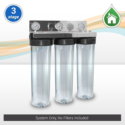 "3-stage 20""x 4.5"" Whole House Water Filter w/ Stainless Steel Bracket and Clear Housings -  ¾"" or 1"" NPT Ports (no filters)"
