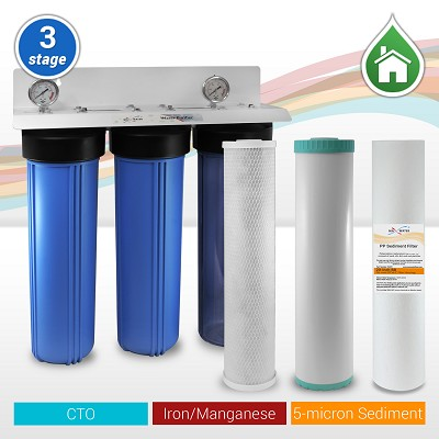 "3-Stage 20"" x 4.5"" Whole House Big Blue Iron/Manganese/Sulfur/Hydrogen Sulfide Water Filter 3/4"" or 1"" NPT Ports"