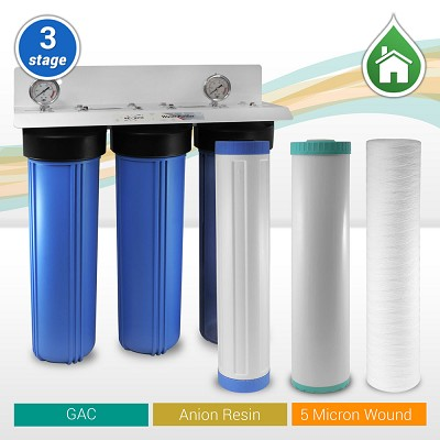"3-stage 20""x 4.5"" Whole House Big Blue Tannin/Nitrate Removal Water Filtration System - ¾"" or 1"" NPT Ports"