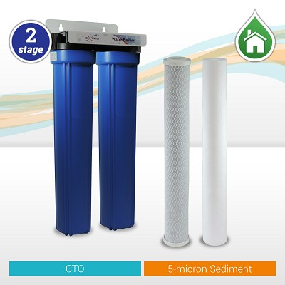 "2-stage Sediment/CTO Whole House Water Filter 20""x 2.5"" Blue Filter Housings"