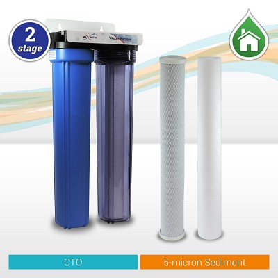 "2-stage Sediment/CTO Whole House Water Filter 20""x 2.5"" Blue/Clear Filter Housings"
