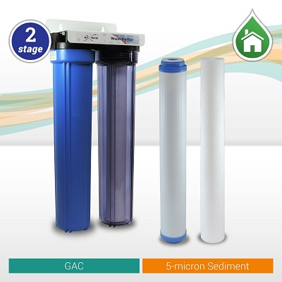 "2-stage Sediment/GAC Whole House Water Filter 20""x 2.5"" Blue/Clear Filter Housings with Ball Valve."