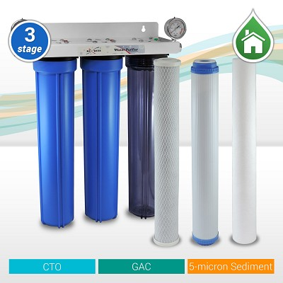 "3-stage 20"" x 2.5"" Slim Blue Whole House water filter 3/4"" NPT Ports with Pressure Gauge"