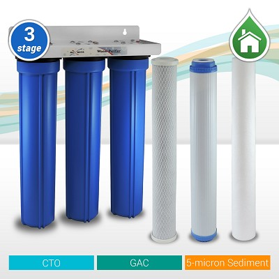 "3-stage 20"" x 2.5"" Whole house water filter, Sediment/Carbon GAC/CTO"