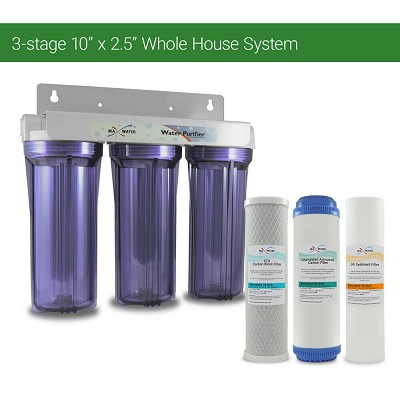"Whole House Water Filter System 2.5"" x 10"" Three Stage Filtration 3/4"" Inlet"