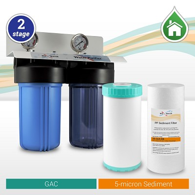 "Two Stage Whole House water filter 10"" x 4.5"", 3/4"" OR  1"" NPT Ports with pressure Gauges"