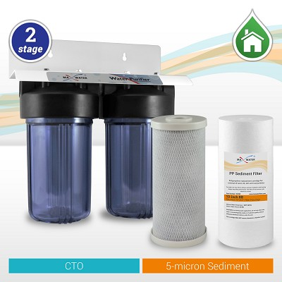"2-Stage 10""x4.5"" Whole House Big Blue Water Filtration System with Clear Housings  - ¾"" or 1"" NPT Ports"