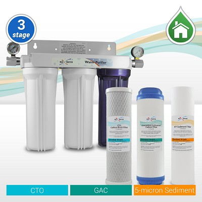 3 Stage Whole House Sediment Carbon Filter w/2 Dry Pressure Gauges & 1 Shut-Off Valve