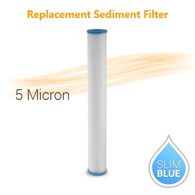 "Pleated Water Filter 5 Micron, size 20""x2.5"""