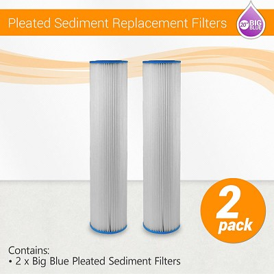 "2 pack 20"" BB ECP reusable washable Polyester pleated water filter 5 micron"