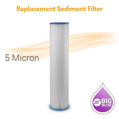 "Pleated Water Filter 5 Micron, size 20""x4.5"""
