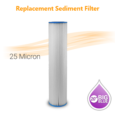 "Pleated Water Filter 25 Micron, size 20""x4.5"""