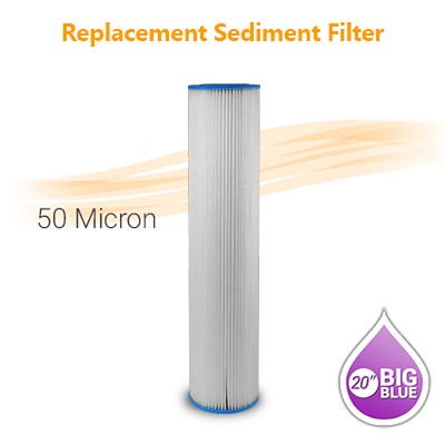 "Pleated Water Filter 50 Micron, size 20""x4.5"""