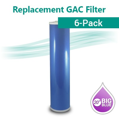 "Box of 6 GAC 20B Coconut shell Granular Activated Carbon Water filter size 20""x4.5"""