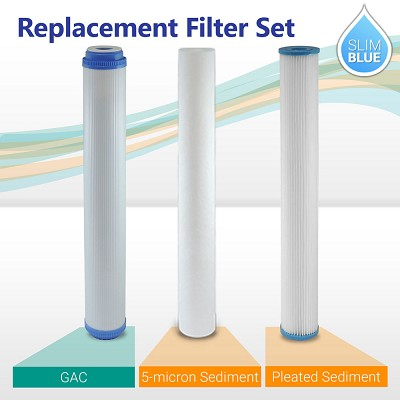"20"" Slim Blue Whole house Water filter Set Pleated Sediment Carbon"