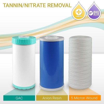 "10"" Big Blue Tannin/Nitrate Reducer Filter Set (3-pack)"
