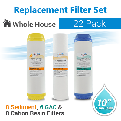 Whole House Replacement Filters Sediment/GAC/Cation Resin - 22-pack