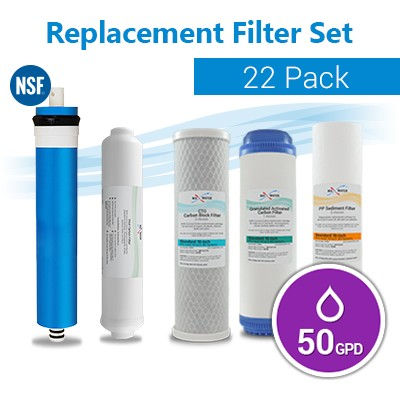 22 RO Replacemt water Filters - Reverse Osmosis  50GPD membrane