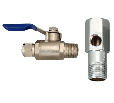 "Feed Water Adapter, 60mm 1/2"" MIP x1/2""FIP, 1/4"" hole + Feed Water Ball Valve 1/4"" tube x 1/4"" MIP"