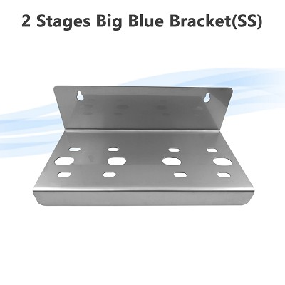 Stainless Steel 2 Stages Big Blue Whole House Filter Housing Bracket N Type fits Single O ring Housings  70 x 77 mm