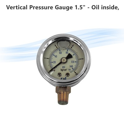 "Vertical Pressure Gauge 1.5"" - Oil inside, 1/8"" thread, 10kgs/cm2"