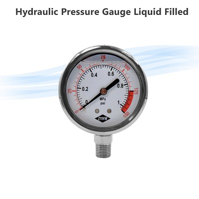 "0-150 psi 2.5"" Hydraulic Air-Water Pressure Gauge Liquid Filled"