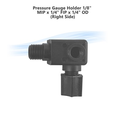 "Pressure Gauge Holder 1/8"" MIP x 1/4"" FIP x 1/4"" OD (Right Side)"