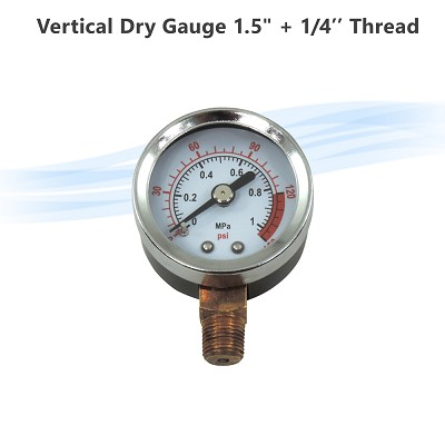 "Vertical Dry Pressure Gauge 1.5"" - 1/4"" thread"