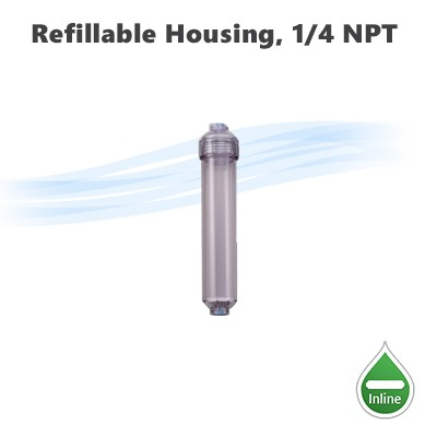 "Refillable clear housing, 11""x 2"" filter housing 1/4"" NPT inlet outlet ports."