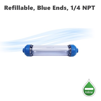 "Refillable clear housing with blue ends, 10""x 2"" filter housing 1/4"" NPT inlet outlet ports."