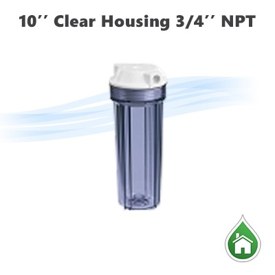 "10"" Water filter clear housing 3/4"" NPTF"