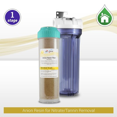 "1-stage 10"" Whole House Tannin/Nitrate Reduction Filter with Clear Filter Housing"