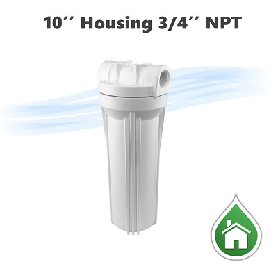 "10"" Water filter White housing, 3/4"" NPT."