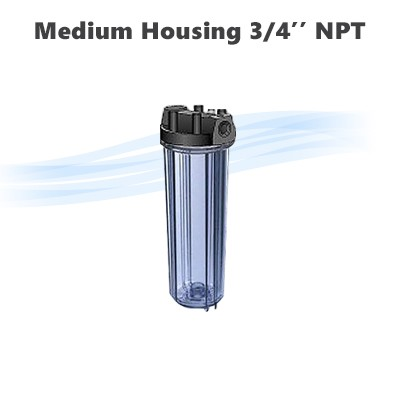 "10"" whole house water filter clear medium housing 3/4"" NPT, with pressure release button."