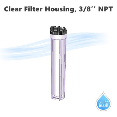 "20""x 2-1/2"" water filter clear housing 3/8"" NPT, with pressure release button."