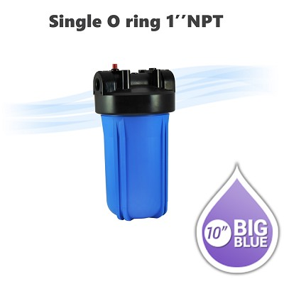 "10""x 4.5"" Big Blue water filter housing 1"" NPT, with pressure release button."