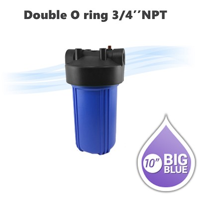 "10""x 4-1/2"" Big Blue Double O ring water filter housing 3/4"" NPT, With pressure release button & pressure gauge hole."