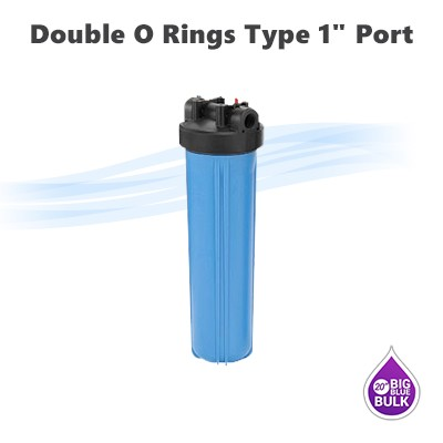 "20""x 4-1/2"" Big Blue double o ring type water filter housing 1"" NPT ports."