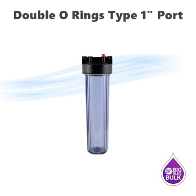 "20""x 4-1/2"" Big Blue double o ring type Purple clear water filter housing, 1"" NPT ports."