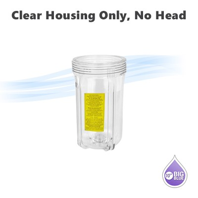 "10""x 4-1/2"" water filter clear housing Only , no housing head included."