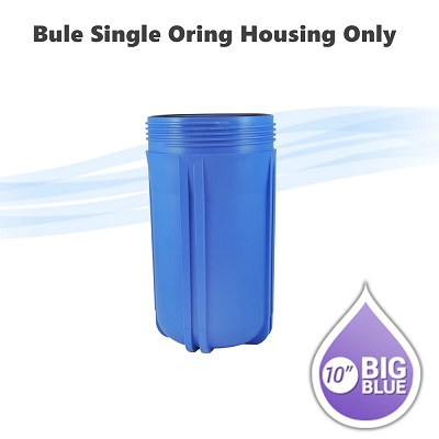 "10""x 4-1/2"" water filter blue single O-ring housing Only , no housing head included."