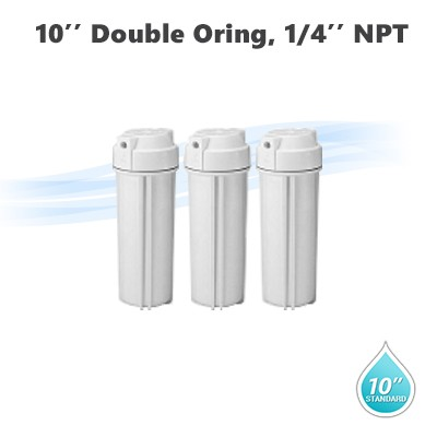 "10"" Water filter housing, 1/4"" NPT with double Oring Qty 3"