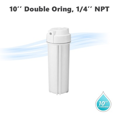 "10"" Water filter white housing, 1/4"" NPT with double o-ring"