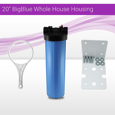 "20"" Big Blue Whole House Water System Filter Housing With Wrench and Bracket"
