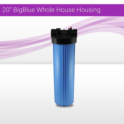 "2 x20""x4.5"" BB Whole House Filter Blue Housing 1"" Ports w/ 1/8"" Gauge Hole"