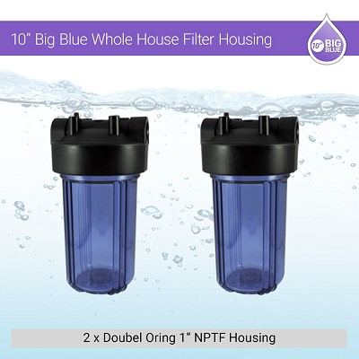 "2 x 10"" BB 1"" Double Oring Purple Clear Housing W/ Pressure Release Gauge Hole"