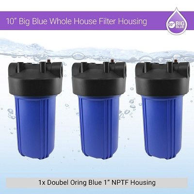 "3 x 10"" BB 1"" NPTF Double Oring Blue Housing W/ Pressure Release & Gauge Hole"