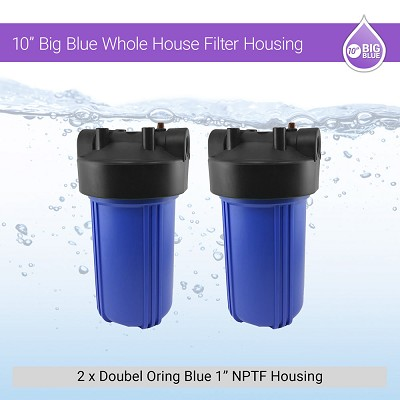 "2 x 10"" BB 1"" NPTF Double Oring Blue Housing W/ Pressure Release & Gauge Hole"
