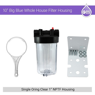 "10"" BB Whole House 1"" NPTF Single Oring Clear Housing W/ Bracket & Wrench"
